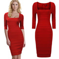 High-end mulheres party dress praça neck meia manga plissada bodycon celebridade bodycon volta zipper plus size mulheres partido dress