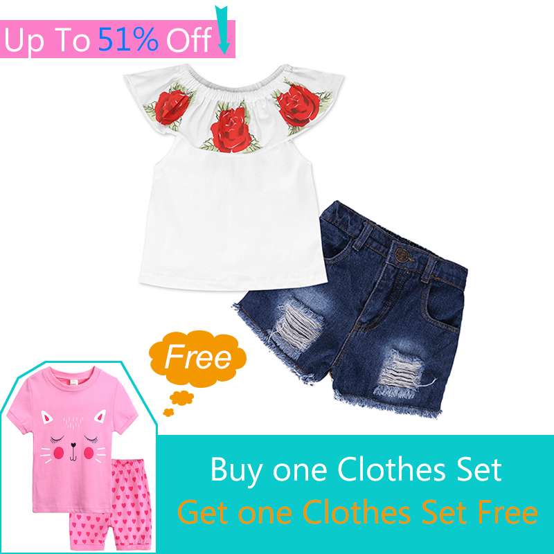 Free G250! Summer Girls Clothes Rose Print Tops + Denim Shorts 2pcs Clothing Sets For Girls 2-7 Years Costumes Crianca Roupas kids clothing sets for girls spring print denim tops