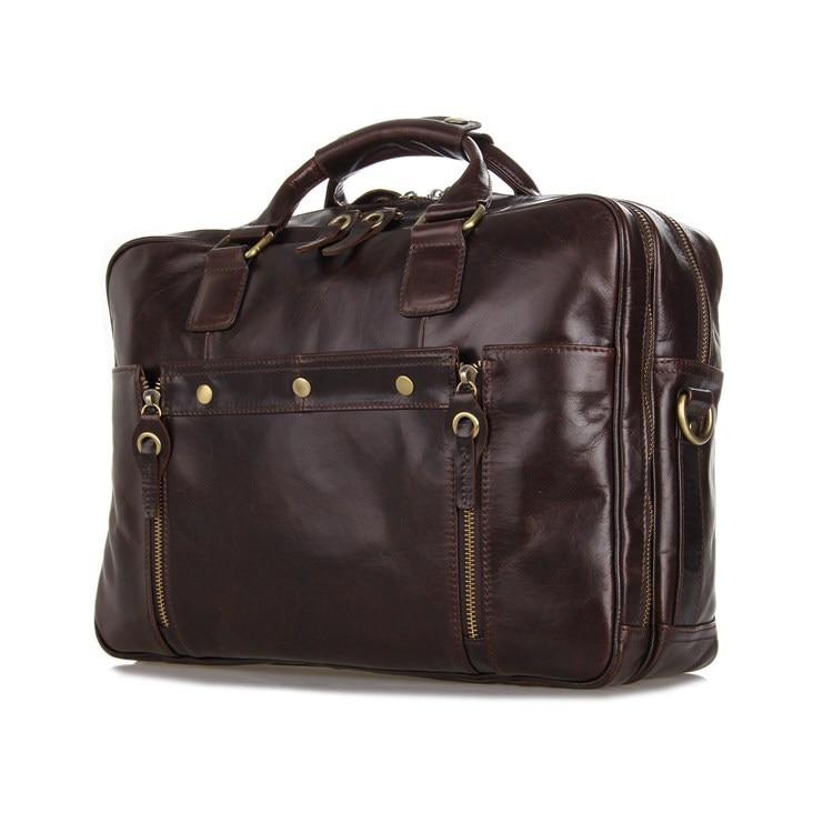 Vintage Men s Bag Genuine Leather Briefcase Men Messenger Bags Coffee Color Cowhide Portfolio 14 Laptop