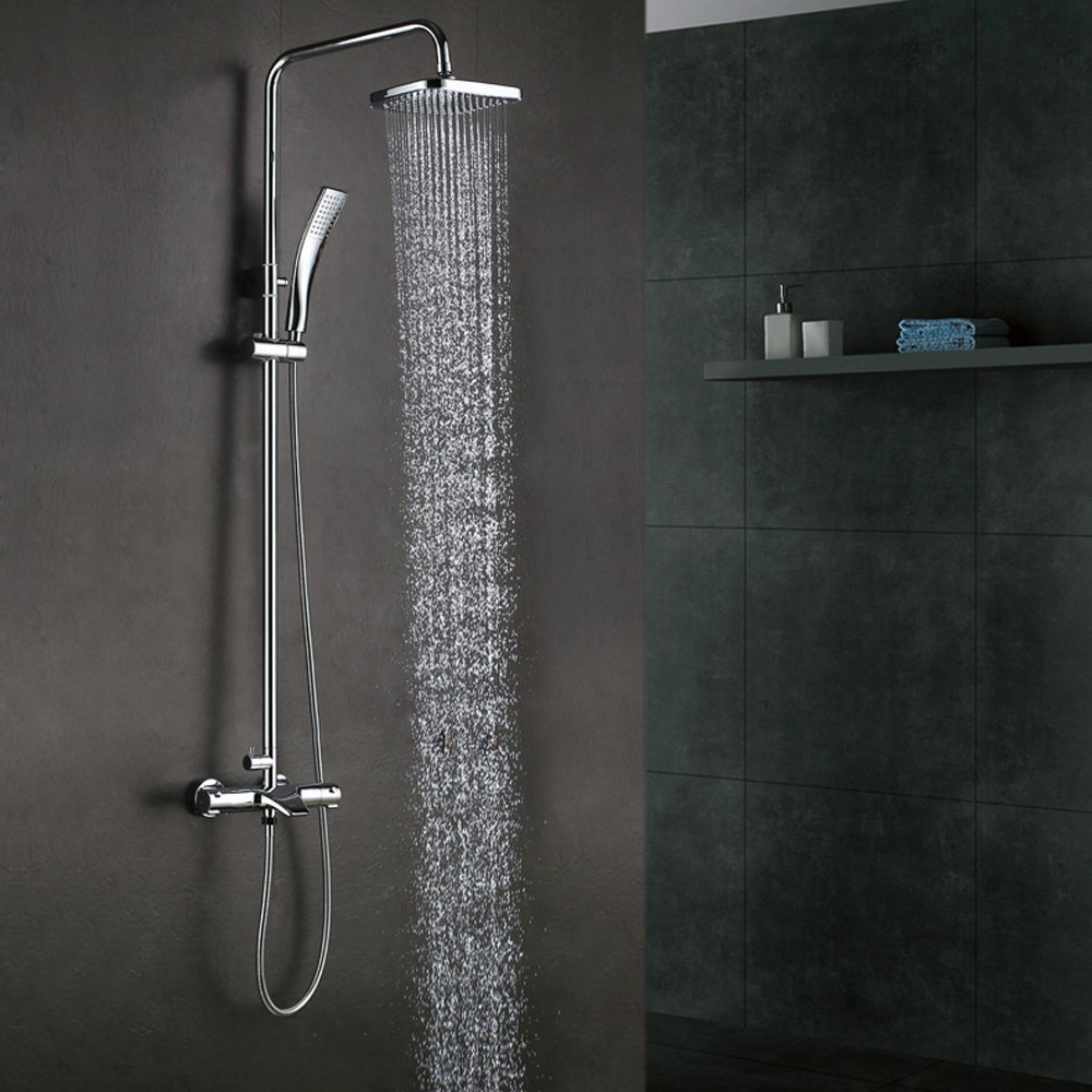 buy thermostatic bathrube shower system rainfall shower head adjustable. Black Bedroom Furniture Sets. Home Design Ideas