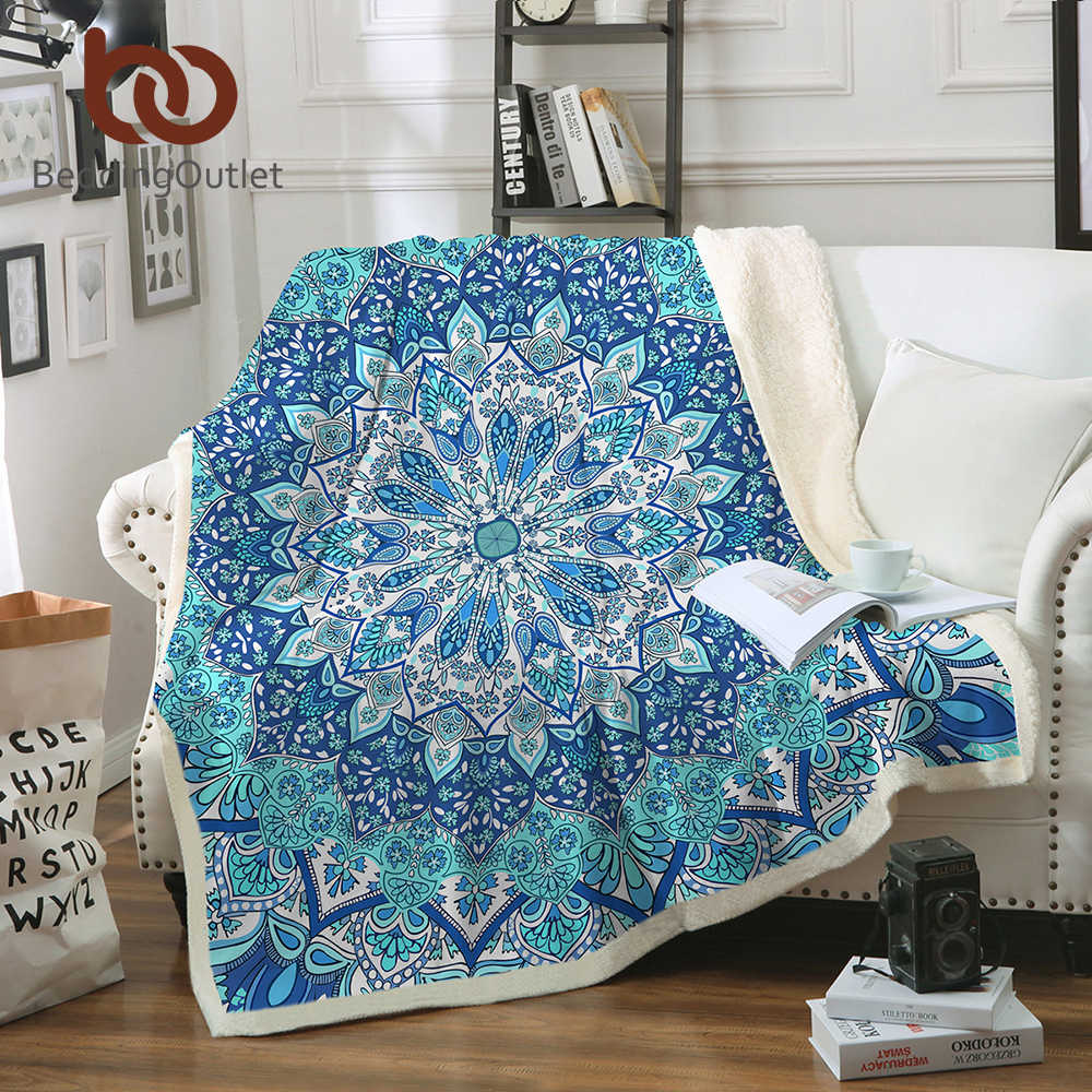 BeddingOutlet Bohemian Blanket for Beds Floral Paisley Thin Quilt Sky Blue Mandala Bedspread 130x150cm Fleece Throw Blanket