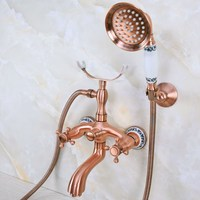 Antique Red Copper Brass Double Cross Handles Wall Mounted Bathroom Clawfoot Bathtub Tub Faucet Mixer Tap w/Hand Shower ana373