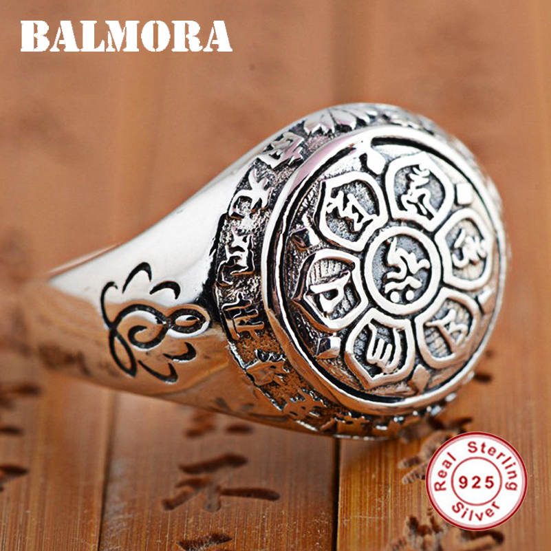 BALMORA Vintage 100% Real 925 Sterling Silver Jewelry Buddhistic Six Words' Mantra Rings for Women Men Lovers Gifts SY20992 925 silver buddha rings for men women jewelry six words of mantra 100