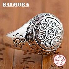 Balmora Винтаж 100% натуральная 925 пробы Серебряные ювелирные изделия буддийских Шесть слова Мантра кольца для Для женщин Для мужчин любителей подарки SY20992