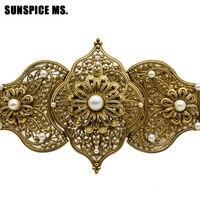 שופעת עגול קריסטל שרשרת מותניים אורך מתכוונן חגורת מתכת האצילי של ימי הביניים הודו כלה תכשיטי חתונה ניגריה פרח ביד