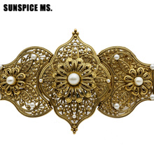 Sunspicems Luxuriant Round Crystal Caucasus Belt Medieval Noble Metal Waist Chain Adjustable Length Bridal Wedding Jewelry Gift