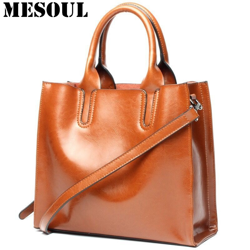 MESOUL Bag Leather Women Handbag Oil Wax Cowhide Casual Tote Bag Luxury Deisnger Vintage Shoulder Crossbody Bags for Mom Gift mesoul chain bag women genuine leather shoulder bags vintage party evening bag handbag crossbody small mini flap bag ladies tote
