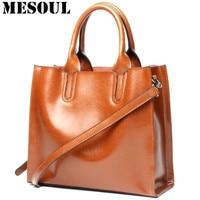 MESOUL Bag Leather Women Handbag Oil Wax Cowhide Casual Tote Bag Luxury Deisnger Vintage Shoulder Crossbody Bags for Mom Gift