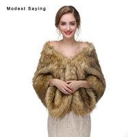 Luxe Bruin Faux Fur Wedding Boleros 2017 Imitatie Wasbeer Fur Bruids Wraps Warme Jassen voor avondjurken Bruiloft Accessoires