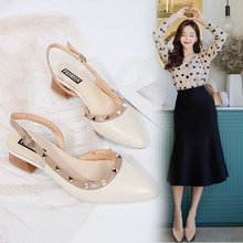 summer Square head Thick with sandals Low-heeled Word buckle Women's shoes Fashion Ladies Ankle Low-heeled Casual Party convertible strap low heeled mules