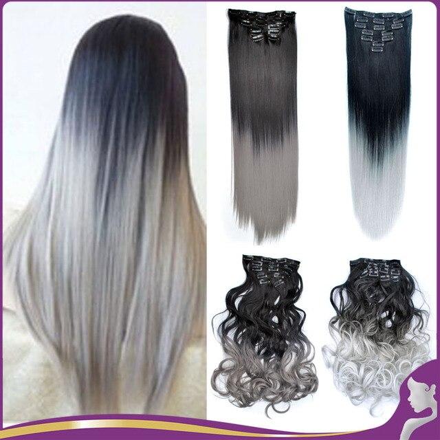 7pcsset 9 color 24 ombre color hair extensions heat resistant 7pcsset 9 color 24 ombre color hair extensions heat resistant two tone long pmusecretfo Choice Image