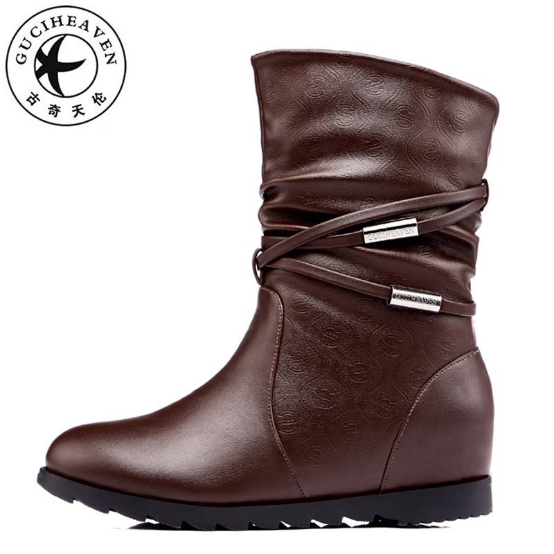 Guciheaven Mid-calf Snow Boots Women Winter Keep Warm Short Plush Height Increasing Inside Heels 3cm Fashion Leather Shoes rizabina women height increasing glitter half short boot warm plush winter mid calf snow boots footwear shoes p21952 size 34 43
