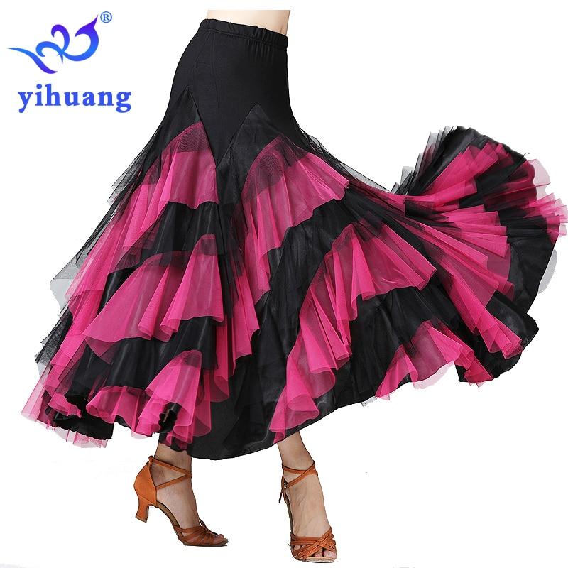 Lady Flamenco Ballroom Dance Waltz Big Swing Sequins Modern Long Skirt Dress