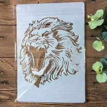 A4 leão diy estênceis em camadas pintura scrapbook colorir gravação álbum decorativo modelo de cartão de papel