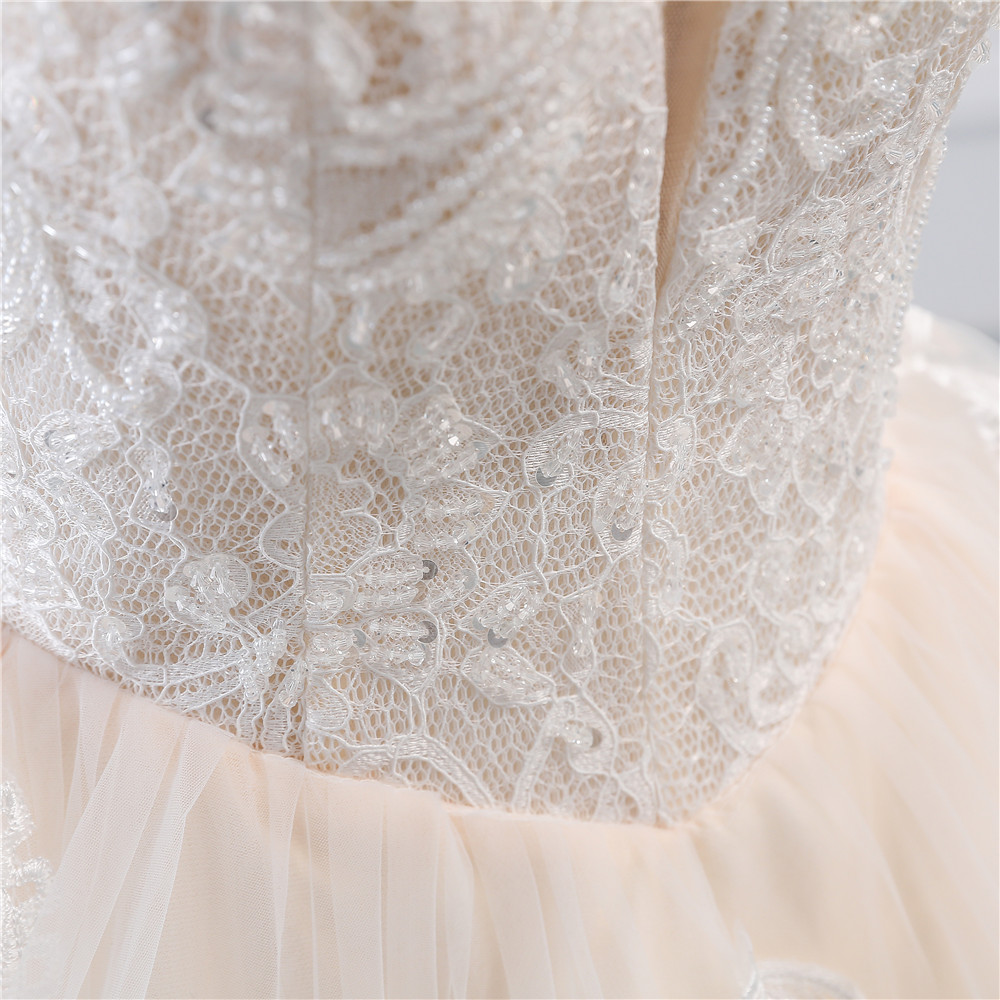 Image 5 - Fansmile Illusion Vintage Princess Ball Gown Tulle Wedding Dresses 2019 Quality Lace Plus size Wedding Bride Dresses FSM 520F-in Wedding Dresses from Weddings & Events