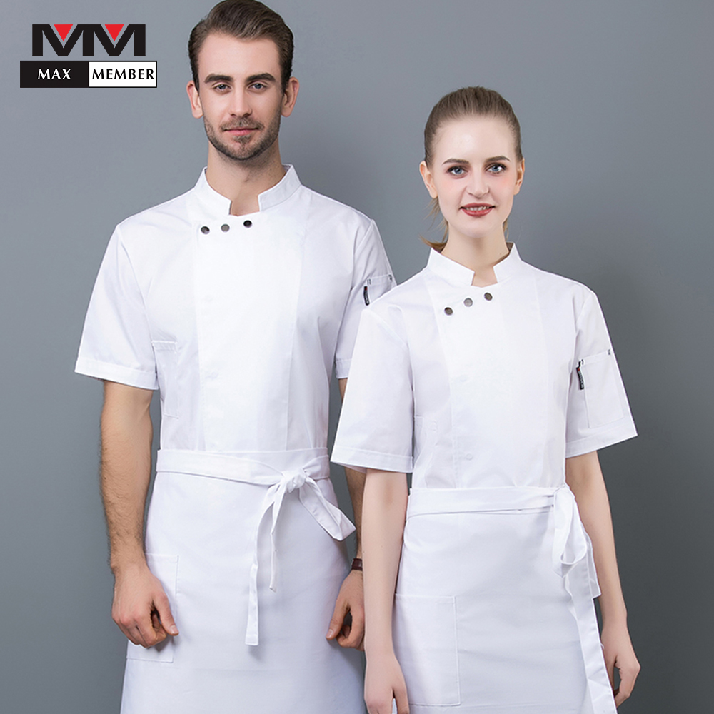 2019 New Short Sleeve Catering Uniform Restaurant Hotel Kitchen Cook Clothes Hot Sale Chef Jacket Unisex Bakery Workwear