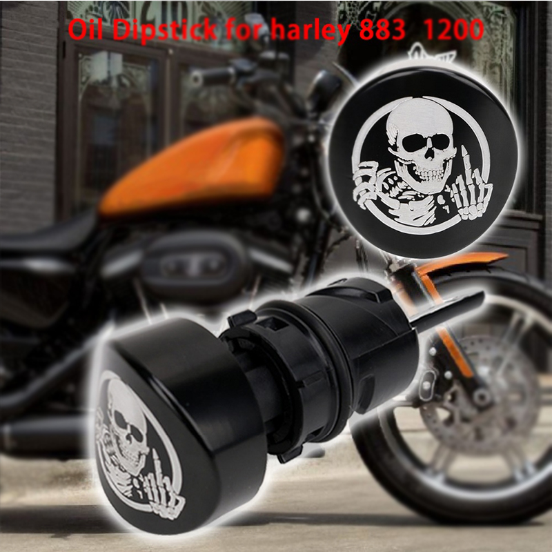 Skull Motorcycle Oil Dip Stick Dipstick Filler Plug For Harley Sportster XL 1200 883 Iron Forty Eight 48 2004-2016 MBG060 skull motocycle cnc derby timing timer cover engine for harley xl xr sportster 883 1200 xl xl883 xl1200 forty eight seventy two