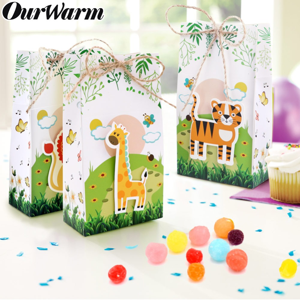 6pcs Jungle Theme Party Gift Box Candy Bags Jungle Birthday  Baby Shower Decorations Packing Bag Jungle Theme Party Favor