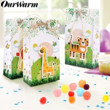 OurWarm 6pcs Happy Birthday Cartoon Animals Candy Bags Wedding Baby Shower Packing Bag Paper Gift Boxes Jungle Theme Party Favor
