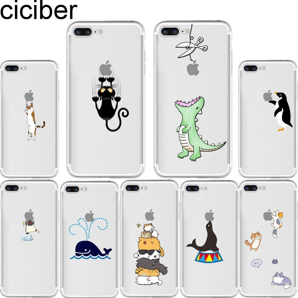 ciciber Cute Animals Cat Penguin Dragon Soft Silicone Phone Cases Cover for Iphone 6 6S 7 8 plus