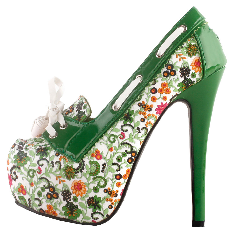 LF80872 SHOW STORY Retro Floral Print Lace-Up Platform High Heel Stiletto Pumps