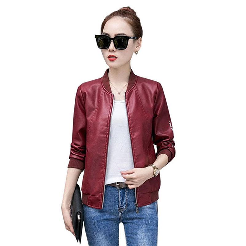 2019 Autumn New Pu   Leather   Motorcycle Jacket Female Short Coat Loose Korean Large size High Waist Fashion Soft Jacket Women Y320