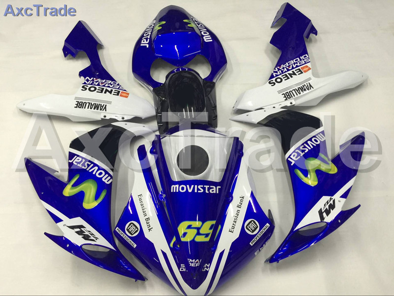 Motorcycle Fairings Kits For Yamaha YZF-R1000 YZF-R1 YZF 1000 R1 2004 2005 2006 ABS Injection Fairing Bodywork Kit Blue White 5pcs soft bait 120mm 7g fishing lure silicone baits isca artificial para pesca grub bass leurre peche fishing wobblers fa 337