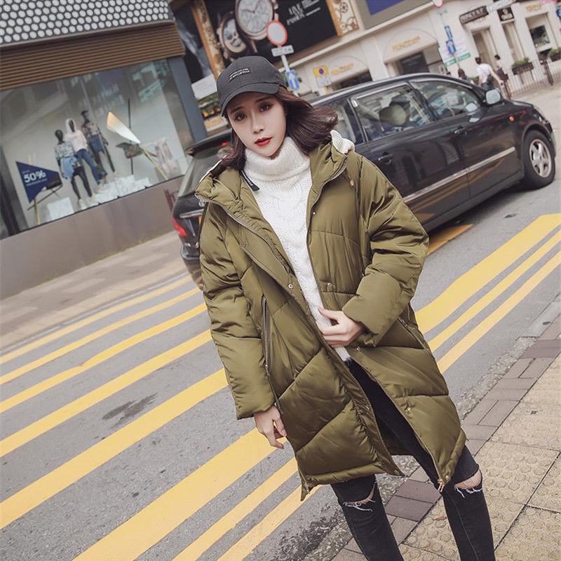 Winter Knitted Hat Warm Cotton Padded Thicking Long Hooded Parkas  Zipper Coat Women Cold-resistance Loose Jacket Female 2017