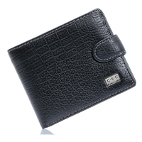 Hot Sale Mens Gentleman Black Real Genuine Leather Bifold Clutch Wallet Coin Purse Pouch ID Card