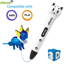 dikale 3D Printing Drawing Printer Pen with OLED Display Arts DIY Perfect Gift for Kids and Adults Compatible with PLA/ABS sunlu sl 300 professional 3d printer pen gen 3 with oled display blue