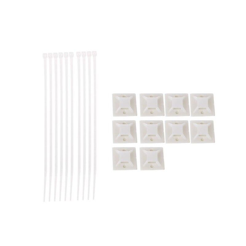 10 Stücke Einstellbare Nylon Zip Kabelbinder + Selbst-adhesive Krawatte Halterungen Für Draht Management Um Jeden Preis
