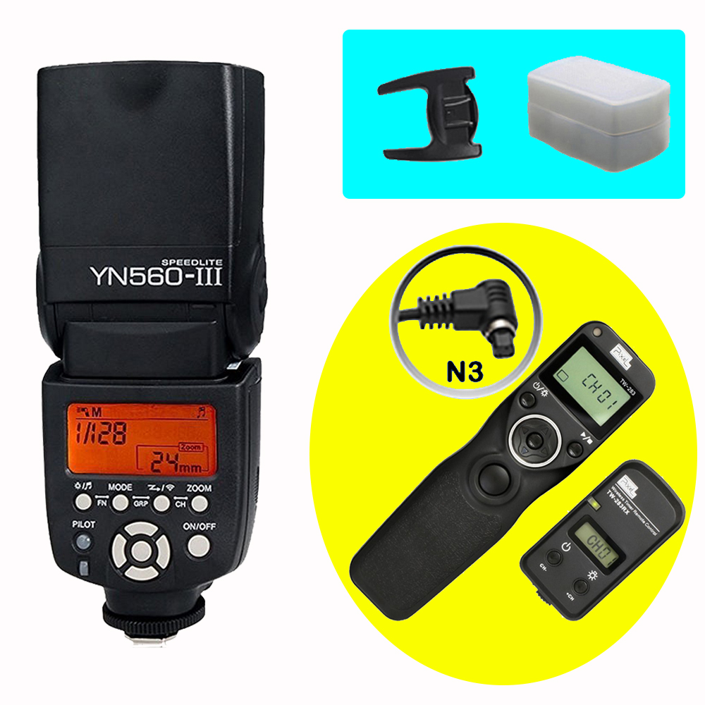 YONGNUO YN560III YN560-III Wireless Flash Speedlite & PIXEL TW-283 N3 Timer Remote Control For Canon 5D Mark II 5D Mark III 7D