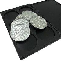 Black Outer pakket 6 STKS Oogschaduw Aluminium Pannen met lege Palet Makeup Tools Cosmetica DIY Doos palet