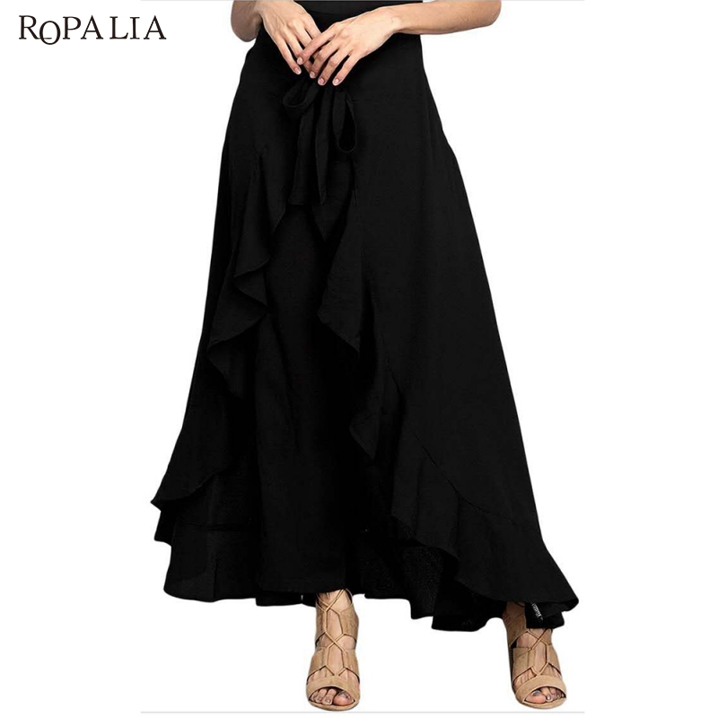 Wrap Skirts For Women New Casual Fashion Navy Chiffon Tie-Waist Ruffle Wide Leg Loose Pants Black Grey