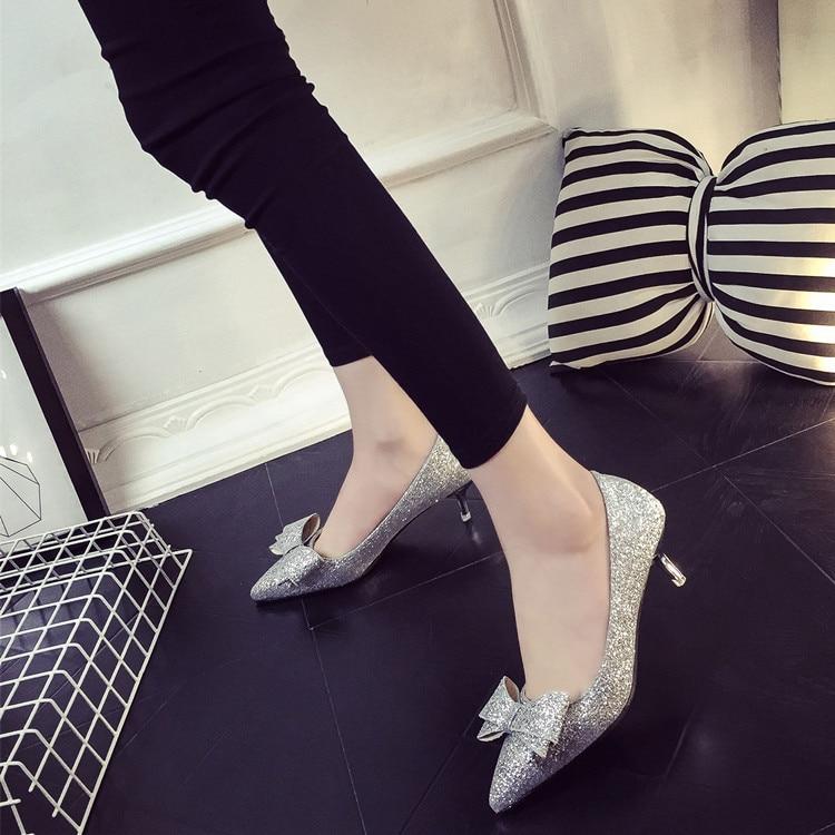 Negro Del Zapatos Oro Arco Tacones Lentejuelas oro 2016 rojo De Bowknot Temperamento Señalaron plata Bombas Alto Altos Mujeres Tacón Plata Los Atractivos Femenina Y6nqHw
