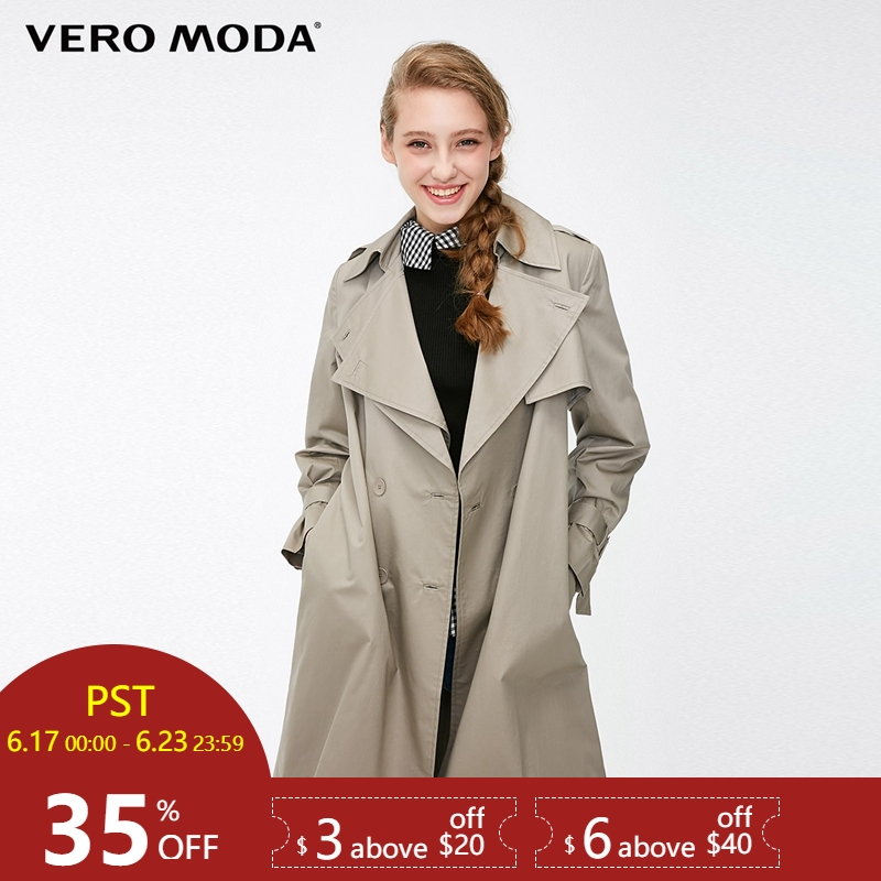 Vero Moda Women's Straight Fit Two-tiered Lapel   Trench   Coat|318321536
