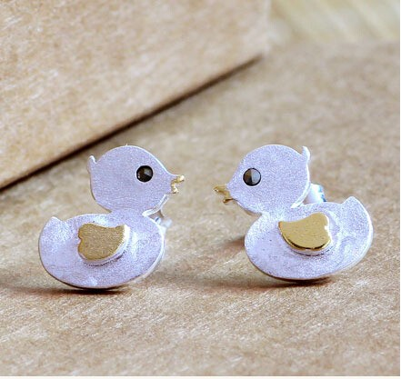 Silver earrings 2016 New hot sell fashion little yellow duck 925 sterling silver ladies`stud earrings jewelry Christmas gift