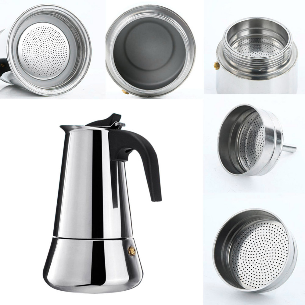 Stainless Steel Stovetop Coffee Maker Pot Mocha Moka Espresso Latte Coffee Pot Filter 100ML 200ML 300ML 400ML Coffee Machine (4)