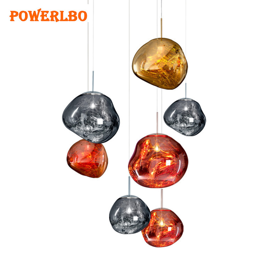 Powerlbo Modern Pendant Lights Melt Glass Irregular shape Silver Gold Copper Mirror Hang Lamp for Living Room Lighting dinning