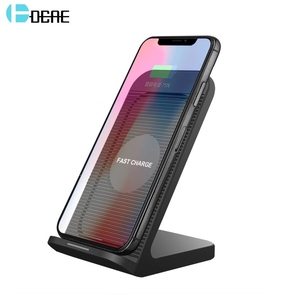 DCAE צ 'י אלחוטי מטען עבור iPhone XS MAX XR X 8 בתוספת 10 w עבור Samsung Galaxy S8 S9 שולחן עבודה USB מהיר אלחוטי טעינת Pad Dock