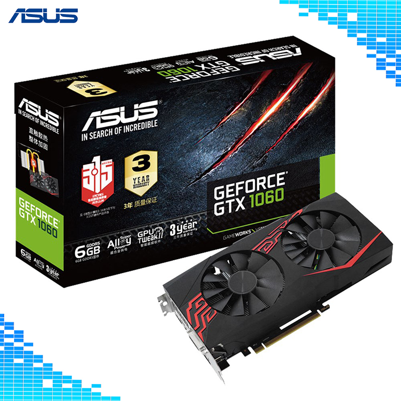 Asus GTX 1060-O6G-GAMING Mainstream niveau Graphique De Bureau Cartes GDDR5 PCI Express 3.0 NVIDIA GeForce GTX 1060 6g Graphique