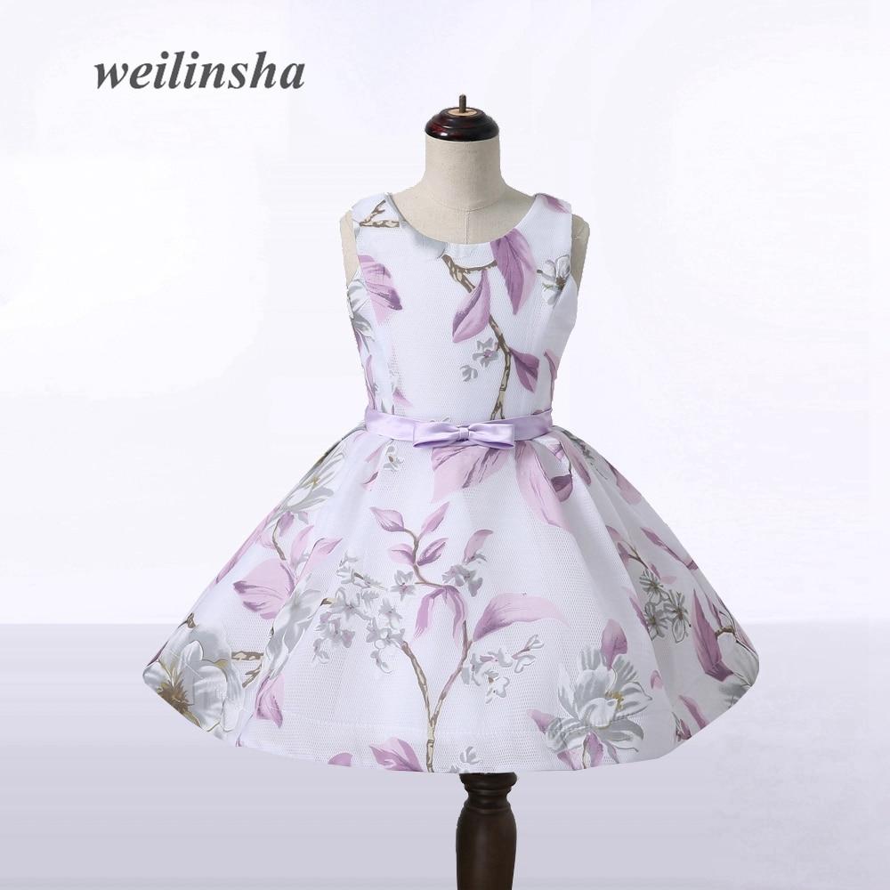 weilinsha Floral Print Flower Girl Dresses Mini Above Knee Length ...