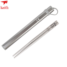 Keith  Titanium Chopsticks  With Storage Holder Cheaper Square Hollow Type Chinese Tableware For Home kitchen accessories