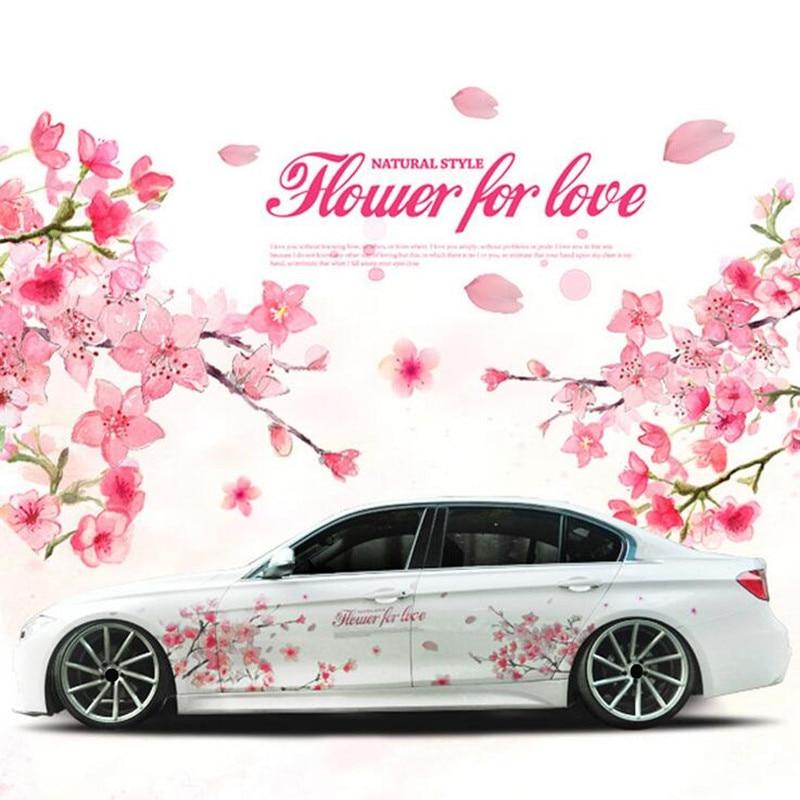 1 Pair Romantic Cherry Blossom Flower Japan Car Decal Sticker Sakura Flower Pink Wedding Auto Body