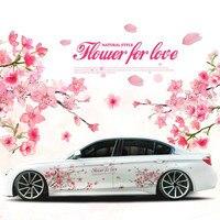 1 Paar Romantische Kersenbloesem Bloem Japan Auto Decal Sticker Sakura Bloem Roze Bruiloft Auto Body Decal Cover Auto Styling