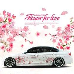 1 Paia Romantico fiore di Ciliegio Fiore Giappone Car Decal Sticker Sakura Fiore Rosa di Nozze Auto Body Decal Copertura Car Styling