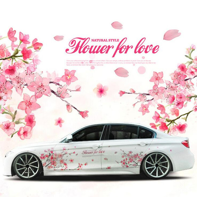 1 pair romantic cherry blossom flower japan car decal sticker sakura flower pink wedding auto body