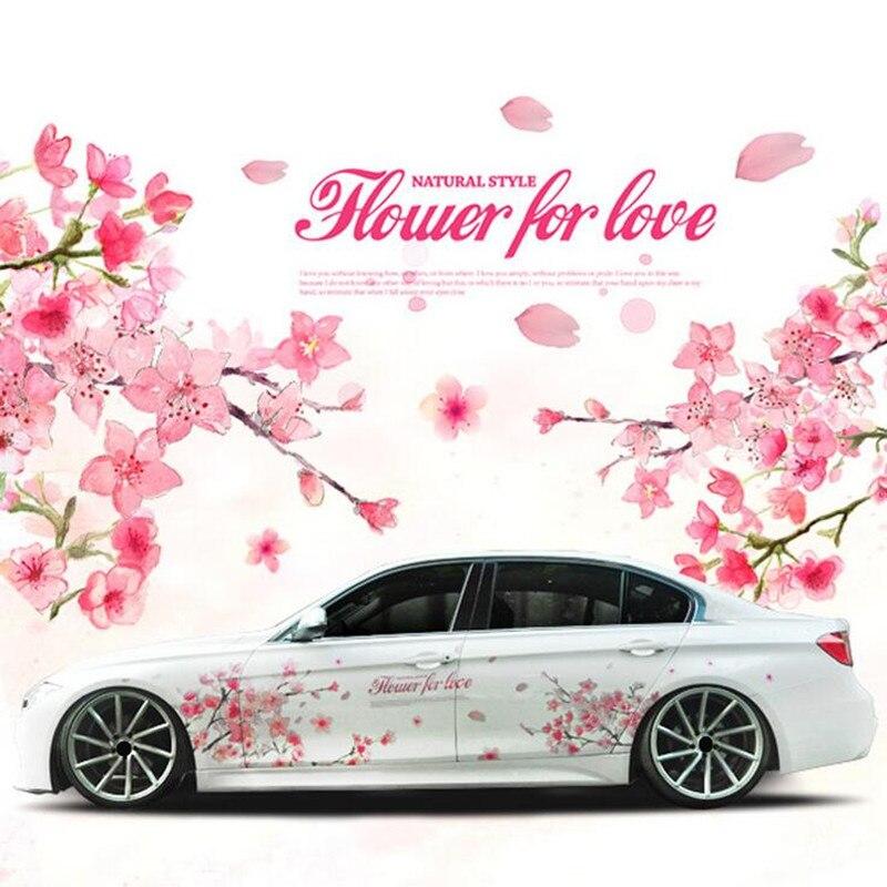 1 Paire Romantique Fleur De Cerisier Fleur Japon Voiture Decal Sticker Sakura Fleur Rose De Mariage Auto Corps Decal Couverture De Voiture Style