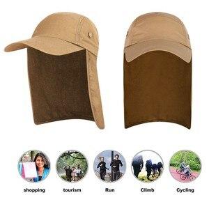 Image 4 - 屋外 UPF 50 ユニセックス速乾性釣り帽子サンバイザーキャップ帽子太陽保護耳ネックフラップカバーハイキング新