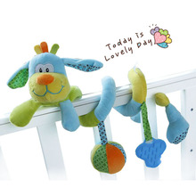 Hot Selling Cute animal Dog Baby crib revolves around bed stroller car lathe hanging baby rattles Mobile toys